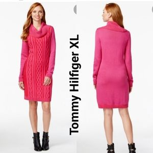 Tommy Hilfiger Pink Red Cable Knit Cowl Neck Dress